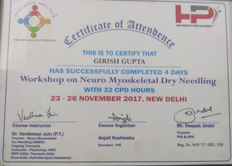 Certification in Neuro Myoskeletal Dry Needling